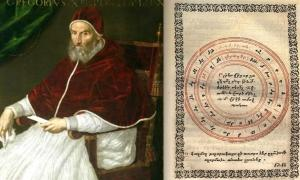 Pope Gregory XIII, portrait by Lavinia Fontana (Public Domain) A Page from a 1584 version of the Gregorian Calendar.
