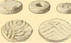 "Page 632 of ""Annual report of the Bureau of American Ethnology to the Secretary of the Smithsonian Institution 1895"" disks cut from sherds of stoneware from the South Appalachian region."