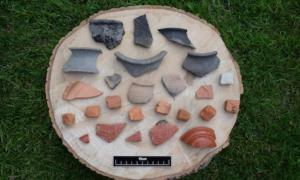 Pottery shards and mosaic tiles found at the secret Yorkshire site.