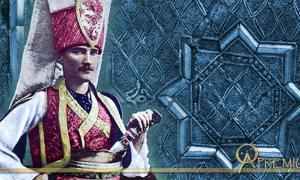 Mustafa Kemal Atatürk wearing the traditional Janissary uniform (Public Domain), and ornament from a Janissary's Cap, 17th century Turkey