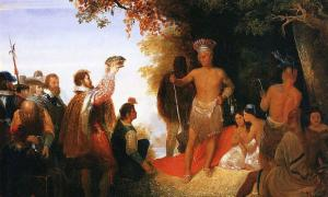 The Coronation of Powhatan' (circa 1835) by John Cadsby Chapman