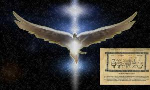 Angel and a page from the book of Raziel