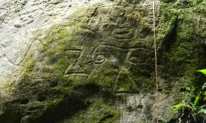 Newly discovered petroglyphs at Montserrat.