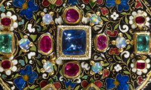 Detail of precious stones adorning the Grenville Jewel
