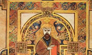 Book of Kells, Folio 32v, Christ Enthroned. Scanned from Treasures of Irish Art, 1500 BC to 1500 AD, From the Collections of the National Museum of Ireland.