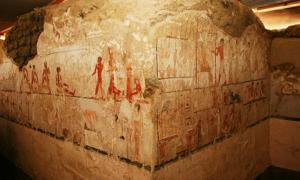 The highly-decorated tomb is built in a distinctive 'L' shape