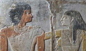 Detail of a tomb painting depicting Meretites and Kahai – an ancient Egyptian couple who lived 4,400 years ago.