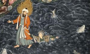 Prophet Elijah (Al-Khidr) Rescuing Nur ad-Dahr from the Sea, a scene from the Hamzanama, here imagined in a Persian miniature by Mir Sayyid Ali (c. 1550 C.E.).