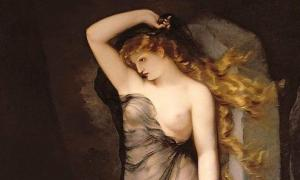 Detail of 'Velleda', as imagined in a 19th-century painting by Charles Voillemot.