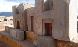 The characteristic monumental stone blocks trimmed in the shape of the letters H at Puma Punku
