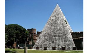 The Pyramid of Cestius overlooks the Protestant Cemetery of Rome