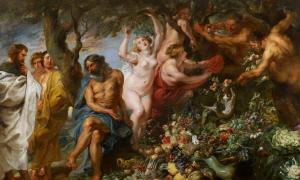 Pythagoras advocating vegetarianism.