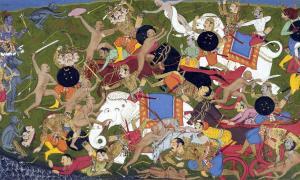 Battle at Lanka, Ramayana, by Sahib Din. Source: Public Domain