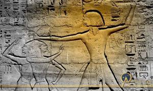 Ramesses III smites his enemies. Design by Anand Balaji.