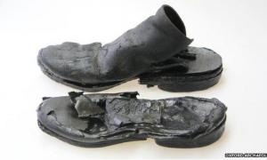 Medieval leather shoes found at the Westgate site, Oxford, England