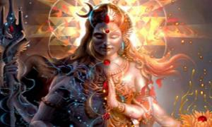Ardhanarishvara, a composite androgynous form of the Hindu God Shiva and his consort Parvati (also known as Devi, Shakti, and Uma in this icon).