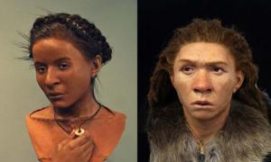 Left; Whitehawk woman Right; Neanderthal Woman Reconstruction Exhibition, Brighton.