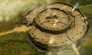 Reconstruction of Arkaim archaeological site in Russia.