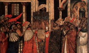 Rediscovery of the Relics of St Mark, a 14th century painting by Paolo Veneziano
