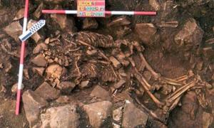 Remains of an embracing couple found near the entrance of the Alepotrypa Cave.