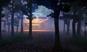 UFO landing in the forest at night: This is the story of the Rendlesham Forest UFO sightings!   Source: dottedyeti / Adobe Stock