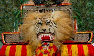 Reog Ponorogo traditional dance lion and peacock mask