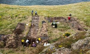 Tintagel Castle archeology dig.
