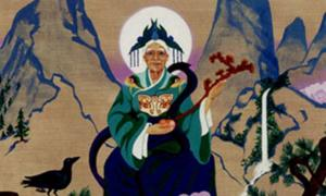 A Ming silk tapestry depicting Dongfang Suo stealing a Peach of Immortality.