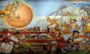 Food in the Maya culture: mural, National Museum of Anthropology, Mexico City