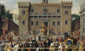 The Women of Rome Gathering at the Capitol by Pieter Isaacsz (1600) Rijksmuseum (Public Domain)