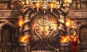 Artist's representation of the sealed door of Vault B at Padmanabhaswamy Temple.