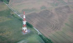 The outline of the ancient ritual site was visible from the air. Source: YouTube Screenshot