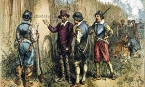 Painting by Englishman John White. Sir Walter Raleigh's 1590 Expedition to Roanoke Island to find the Lost Colony uncovered 'Croatoan' carved on a tree. This may be in reference to the Croatan island or people. Source: John White / Public domain