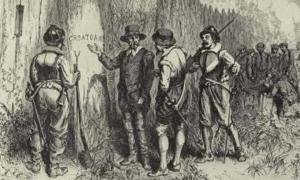 Illustration depicting Captain John White returning to Roanoke Island and discovering the word 'CROATOAN' carved into a tree at the fort palisade.