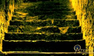 The entrance stairway of 16 steps viewed from the point where Howard Carter uncovered the first sealed doorway