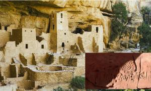 Main: Cliff Palace in Mesa Verde, ruins of an Anasazi Pueblo people, near where the rock art was found. Source:  Dietmar / Adobe stock.             Inset: The spiral patterns that appear prominently in the rock carvings are thought to be a symbol among ancestral Pueblo people for the sky or the sun. Source: Jagiellonian University