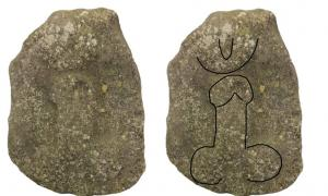 The outline of the phallus can be faintly seen in the left image. It is from Roman times, was found in Lincolnshire in 1995, and will go on display in a Lincoln, England, museum. The object is also thought to depict a vagina or an evil eye.