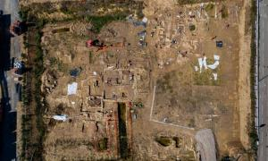 : Aerial view of the large Roman necropolis found in Narbonne, France