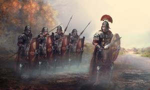 Roman soldiers and their general.