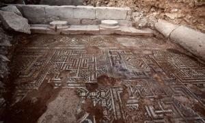 This delicately elaborate mosaic has been excavated from a possible rich person's villa in Roman Doliche, one of the few areas in Roman Syria where archaeologists can work.