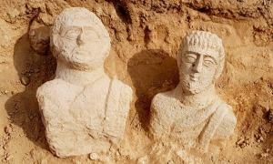 Roman busts found in an ancient cemetery outside the old city of Beit She'an, Israel