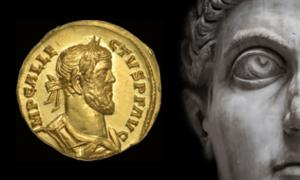 Main: Roman Emperor (neurobite / Adobe Stock) Inset: Rare Roman gold discovered in Kent, England Credit: Dix Noonan Webb