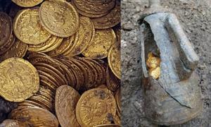 Roman gold coins found in an amphora in Como, Italy