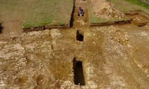 Suspected Roman mine pits were uncovered, which would have intersected with a lost Roman road. Source: University of Exeter / Fair Use.