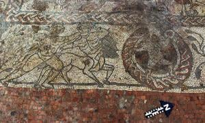 Part of the Roman mosaic at Boxford, potentially depicting Hercules fighting a centaur, and Cupid.
