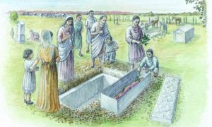 An artist's reconstruction of the burial of the high-status Spitalfields Roman woman. Source: MOLA