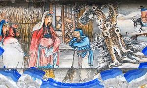 """Three visits to the thatched cottage"" (三顧茅廬), the second visit is depicted here. Portrait at the Long Corridor of the Summer Palace, Beijing. This is a scene from the Romance of the Three Kingdoms."