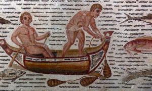 Mosaic with fishing scene, 3rd century Roman.