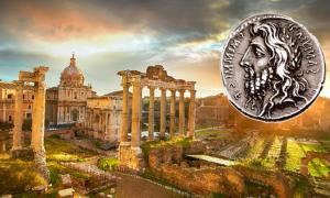 Ruins of Roman Forum in Rome, Italy during sunrise. (twindesigner /Adobe Stock) Insert: Denarius featuring the laureate, long-haired, and bearded head of Quirinus (Romulus).