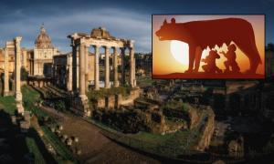 Main: Roman Forum (Ivan Kurmyshov / Adobe Stock). Inset: Statue of Romulus and Remus in Rome (pict rider / Adobe Stock)